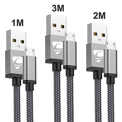 Micro USB Kabel Aioneus[3Pack:1M+2M+3M] Micro USB Ladekabel Nylon Handy Schnellladekabel Android Ladekabel für Samsung S7/S6/S5/J7/J5/Note5, Huawei, Kindle, Xiaomi, HTC, Sony, ps4 und mehr