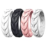 Zollen 4 Packs Olive Leaves Silicone Wedding Rings for Women, Rubber Wedding Bands Stackable Ring, Hypoallergenic Silicone, Size 10