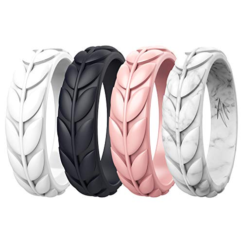 Zollen Olive Leaves Silicone Wedding Rings