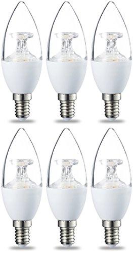 Amazon Basics E14 LED Lampe, Kerzenform, 6W (ersetzt 40W), klar, dimmbar- 6er-Pack