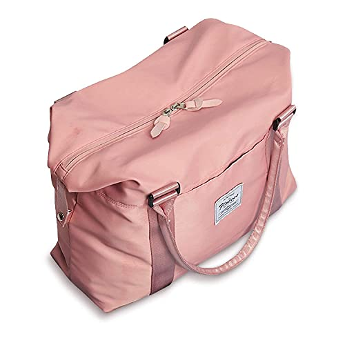 Bolsos de viaje para mujer, para llevar en el fin de semana, bolsa de gimnasio deportiva, bolsa de entrenamiento, para pasar la noche y colgar al hombro, cabe una laptop de 15.6 pulgadas, Rosa/Rebel Fun., L,