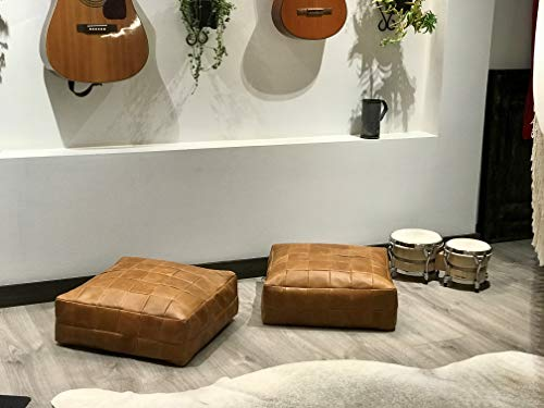Brown Leather Floor Cushion Pillow Seating Ottoman Pouf Window Seat Yoga and Home Furniture. Square pillow seat personalized size