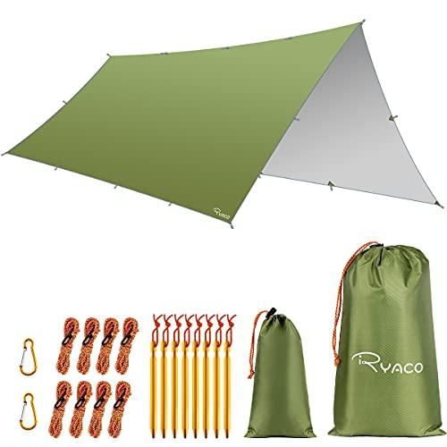 RYACO Hängmatta regntält presenning, 3 m x 5 m presenning bärbar solskydd lätt vattentät marktäckare vindtät camping lusthus picknick matta anti-UV solskydd för snö camping utomhus resor strand