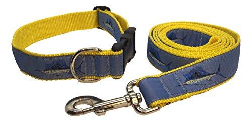Preston Sailfish - Juego de Collar y Correa para Perro, Cinta Azul Claro Sobre Correa de Nailon Ajustable Amarilla