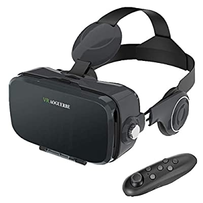 AOGUERBE VR Headset, 3D VR Glasses Virtual Reality Headset with Headphone Bluetooth Remote Controller for 3D Movies Video Games Helmet and VR Apps Compatible with 4-6 inch iPhone Android Smartphones