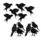 Serenable Realistic Looking Halloween Decoration Birds Black Feathered Crows Halloween Prop Decor (12-Pack, Standing and Flying Style)