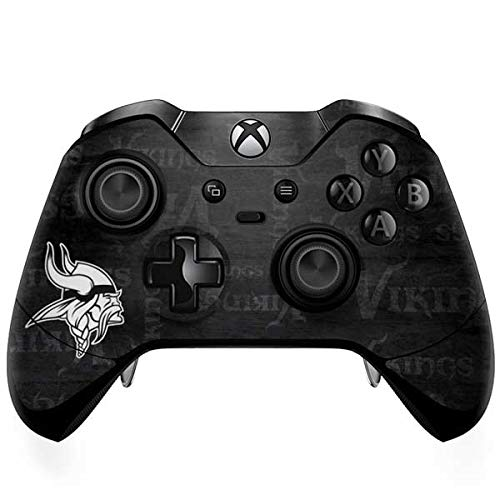 Skinit Decal Gaming Skin for Xbox One Elite Controller - Officially Licensed NFL Minnesota Vikings Black & White Design