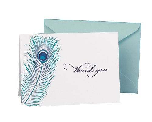 Hortense B. Hewitt Wedding Accessories Thank You Note Cards, Peacock Feather, Pack of 50