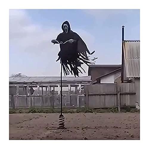 Yokbeer Ghostface Scream Scarecrow, Halloween 78.74in Scary Hanging Ghostface Scarecrow, Scream Scarecrow Decoración para Jardín, Porche, Patio y Árbol, Accesorios de Fiesta Temática de Terror
