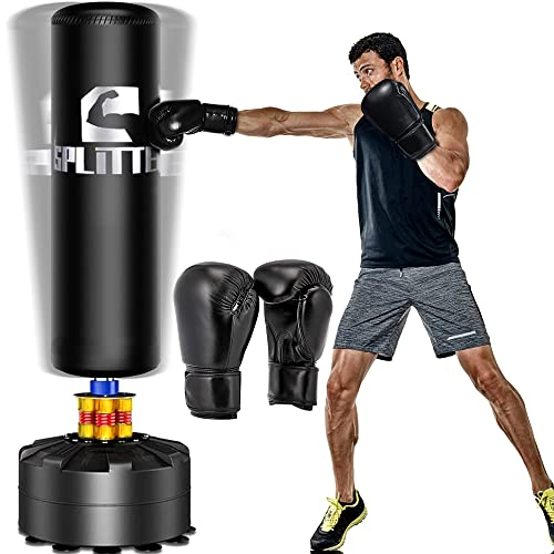 Xsport Pro Freestanding Punching Bag 70''-203 lb with Boxing Gloves Heavy Boxing Bag with Suction Cup Base for Adult Youth Kids - Men Stand Kickboxing Bag for Home Office