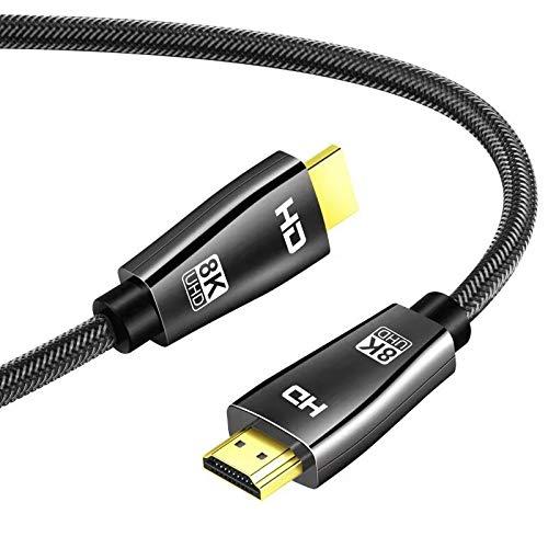 Yiwentec Câble HDMI 2.1 2.0a 2.0b8 K UHD HDR 8 K (7680 x 4320) Haute Vitesse 48 Gbps 8 K@60 Hz 4K @120 Hz HDCP2.2 HDR eARC 3D HDMI Câble pour PS4 SetTop Box HDTVs Projecteur 2 m 8 K.