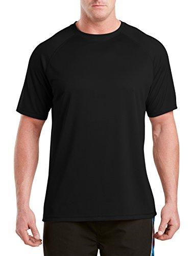 Harbor Bay by DXL Big and Tall Swim Rash Guard T-Shirt, Black 6XL