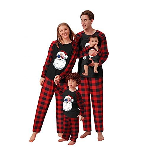 Alueeu Conjunto de Pijamas Familiares Trajes Navideños Invierno Otoño para Mujer Hombre Niño Ropa Invierno Top+Pantalones Sudadera Chándal Suéter Niñas Casual Homewear de Año Nnuevo