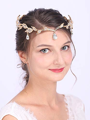 Anglacesmade Bridal Crystal Tiara Crown Rhinestone Headband with Teardrop Diamond-Studded Leaf Hair Vine for Wedding Prom Party Hair Jewelry for Women and Girls (Gold)