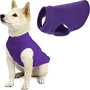 Gooby Stretch Fleece Dog Vest – Violet, Medium – Pullover Fleece Dog Sweater – Warm Dog Jacket Winter Dog Clothes Sweater Vest – Dog Sweaters for Small Dogs to Large Dogs for Indoor and Outdoor Use