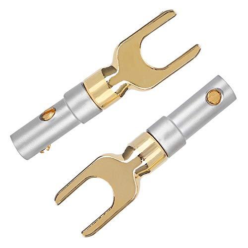 Conectores Banana, Conector de Altavoz Tipo U Spade Tornillo de Audio Adaptador con Cobre Puro Chapado en Oro O Flexible del Cable