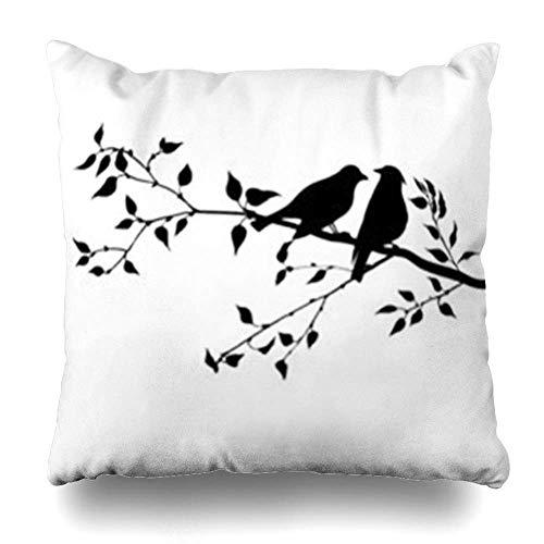 Klotr Housses De Coussins Pair Birds Tree Songbirds Branch Valentine Bird 39 Lovers Wildlife Nature Pillowcase Square Size 18 x 18 inches Home Decor Cushion Cases