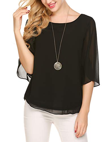 Beyove Damen Shirts lose 3/4 Ärmel Bluse Hemd Chiffon Langarmshirts Oberteile Tops elegant (EU 40(Herstellergröße:L), Schwarz-neu)