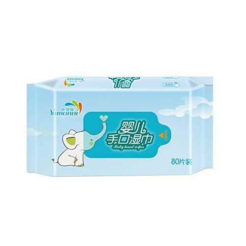 Andouy Premium Reinigungstücher für Erwachsene, Papierhandtücher, Babypflegetücher, Kosmetiktücher, Feuchttuch Tissue, Einzeln Verpackt(13X15CM.Blau)
