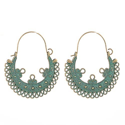 xingguang Pendientes de moda de color dorado, joyería india, bohemio, étnico, vintage, borla de metal para mujer, pendientes colgantes (Color de metal: E021906D)