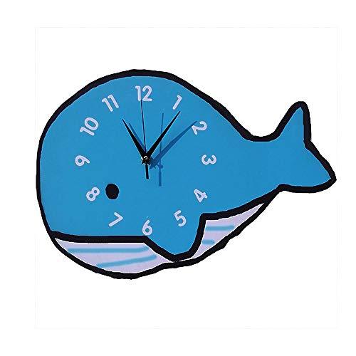 JISHIYU Reloj de pared para niñas, decoración creativa, reloj de pared con forma de ballena para sala de estar, dormitorio, habitación de princesas, sala de juegos, 16 pulgadas