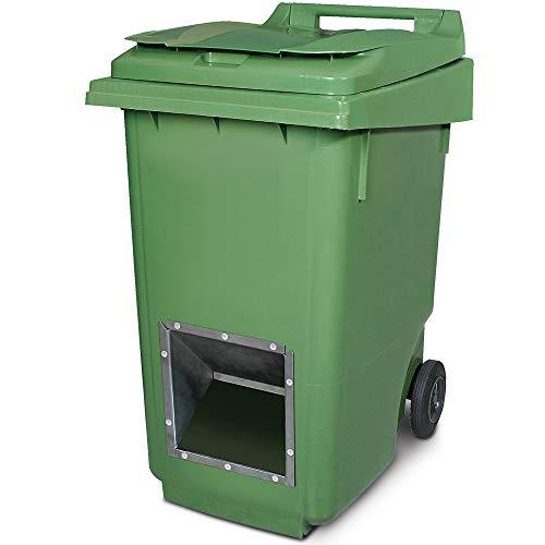 Mobiler Streugutbehälter, Streusalzbehälter 360 Liter, mit Entnahmeöffnung, auch für Streusplit, grün