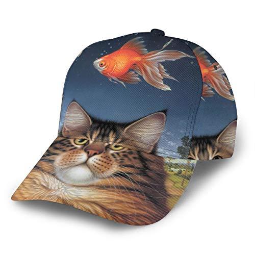 Baseballkappe Wildlife Art Katzenfutter Heute Goldfisch katatonisch Sonnenuntergang Snapback Flat Bill Hip Hop Hats Trucker Hut für Männer Frauen Schwarz