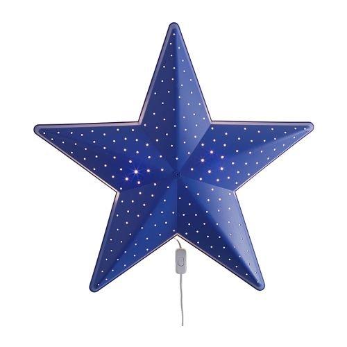 Smila Stjarna wandlamp, stervorm, blauw, voor kinderen, nachtlampje