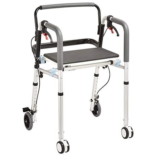 ZXXYTA Allrad-Walker aus Aluminiumlegierung, Walker für ältere Menschen, Roller Walker, Walker mit Sitz