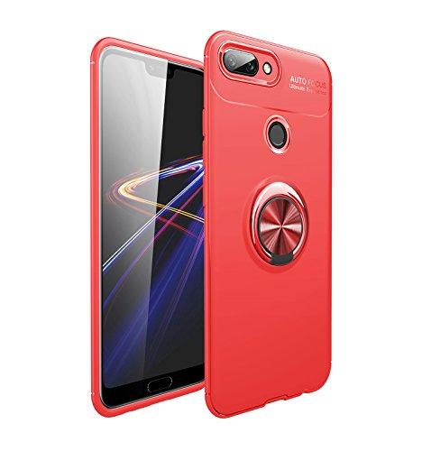 Shinyzone Hülle für Huawei Honor 9 Lite,Rot mit Ring 360 Grad Drehbarer Standfunktion,Ultra Dünn Weich TPU Stoßfest Schutzhülle Kompatibel mit Magnetischer Autohalterung