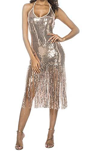 HuanHaoYu vestido para mujer elegante paquete de falda de cadera verano cuello halter vestido de mujer sin hombros cintura sin espalda con borlas de lentejuelas fiesta moda Pop brillante único Hipster