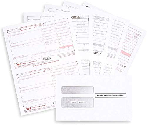Complete Laser W-2 Tax Forms and W-3 Transmittal - Kit for 50 Employees 6-Part, All W-2 Forms with 50 Self-Seal Envelopes in Value Pack | W-2 Forms 2020