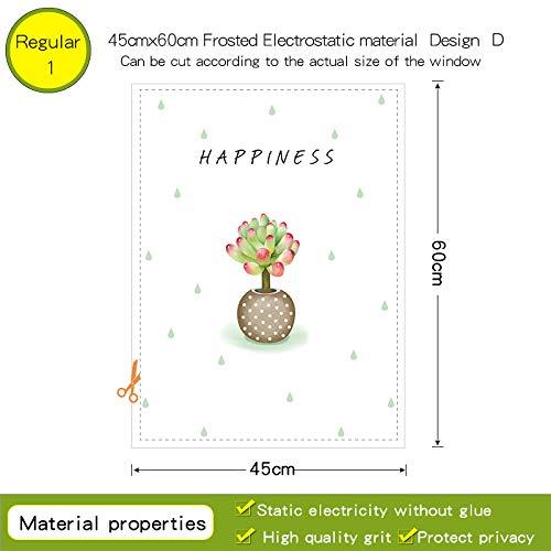 YSHUO Window Sticker Nieuwe Succulent Potted Plants Glasfolie Transparant Voor Badkamer Toilet Geen Lijm Diy Decal