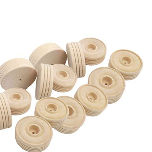 Hellily Holz-Räder, zum Basteln, mit Laufrädern, runde Holzräder, handgefertigt, 25 Stück