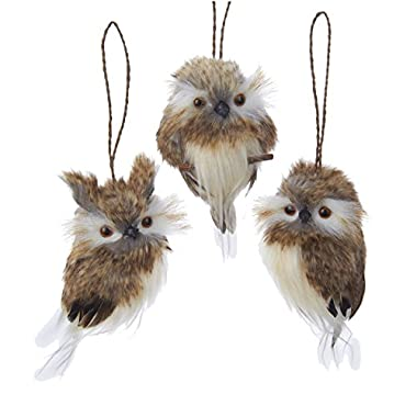 Kurt Adler 4  Brown Hanging Owl Ornament Set