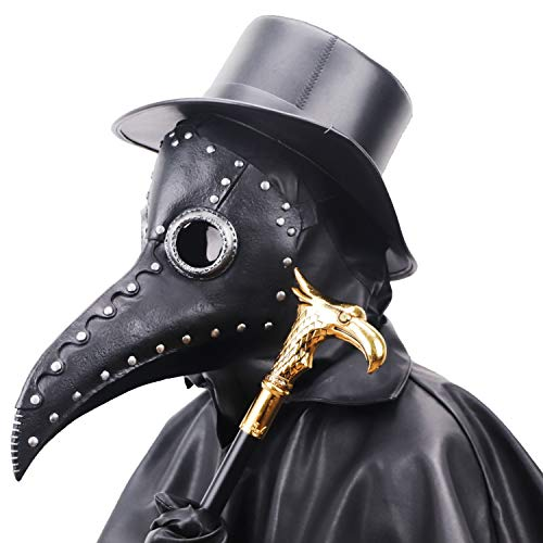 NECHARI Steampunk Plague Doctor Bird Beak Mask Plague DR Halloween Costume Masquerade Masks (Black & Silver)