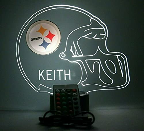 American Pro Football Helmet Sports Fan Team Choice at Checkout Lamp Night Light LED Personalized Free - Featuring Licensed Decal, Room Man Cave Decor, 16 Colors with Remote, A Must Have!