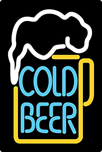 Targa in Metallo generica 20 x 30 cm Cold Beer Neon Birra Scudo Tin Sign