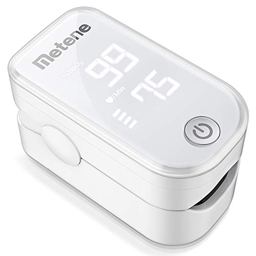 Pulse Oximeter Fingertip, Blood Oxygen Saturation Monitor with Pulse Rate and Accurate Fast Spo2 Reading Oxygen Meter, Portable Oximeter with Lanyard and Batteries (White)