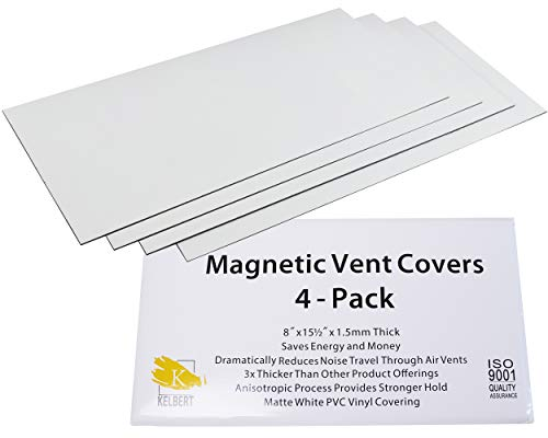 Magnetic Vent Cover –8' x 15.5' Extra Thick Wall/Floor/Ceiling Vent Covers (4-Pack) That Will Reduce Sound, Very Flexible, and Will Stick to Your Vents – Made from Premium Magnets by Kelbert