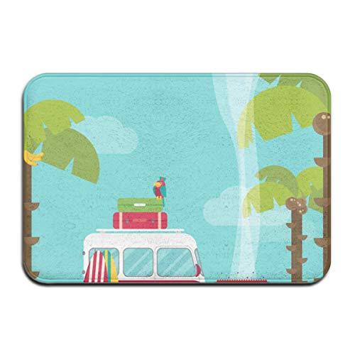 AoLismini Alfombra de baño, Explore Caravan Camping con Barbacoa y Tablas de Surf Tropical Beach Banana Coconut Trees Alfombra de baño de Felpa con Respaldo Antideslizante