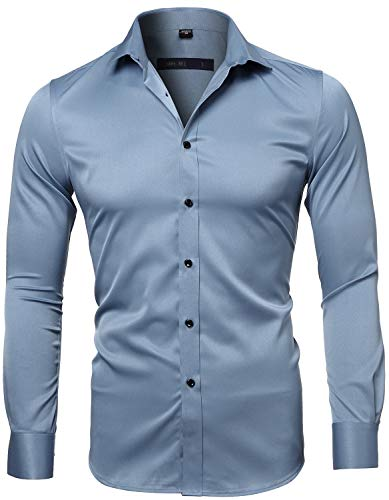 INFLATION Mens Dress Shirts Bamboo Fiber Slim Fit Long Sleeve Casual Button Down Shirts Wrinkle Free Dress Shirts for Men Gray Blue