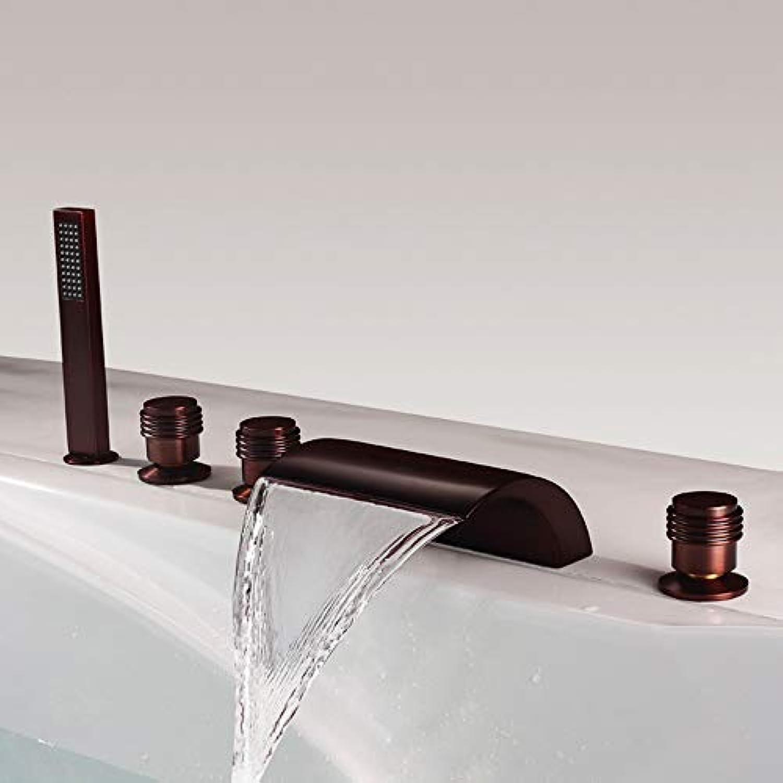 HUIJIN1 Soild Messing-Badewanne ausspucken, Wasserfall-Badewanne Wasserhahn & Handdusche, zeitgenssischer Stil Ventilbad-Dusche-Wasserhhne mit gebogenem Auslauf, Hochdruck, schwarz
