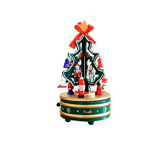 GZQDX Mode d'emploi Music Box Tree Music Box Bonhomme de Neige Mignon Rotation Musicbox Bois Boîte à Musique for Enfants Cadeau de Noël Bon Son (Color : Green)