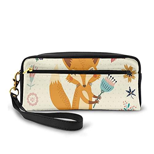 Con bolsa de lápiz con cremallera, zorro con tulipán rodeado de flores corona pájaros peces madre naturaleza ritual dibujos animados, estuche pequeño maquillaje bolsa