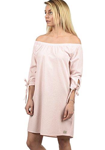 BlendShe Ophelia Damen Freizeitkleid Kleid Mit Off-Shoulder Carmen- Ausschnitt Aus 100% Baumwolle Knielang, Größe:M, Farbe:Veleid Rose Stripe (20405)