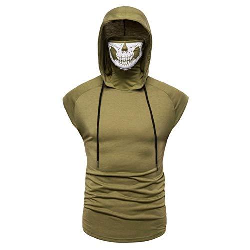 Workout Sleeveless Hoodies for Men - MorwebVeo Sweatshirt for Men with Neck Gaiter Bodybuilding Athletic Shirt Tank Tops Green