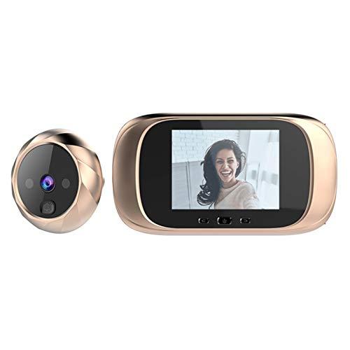 Sbeautli Puerta Exterior de Bell 2,8 Pulgadas de Pantalla LCD a Color Digital Timbre electrónico Mirilla de la Puerta de la visión Nocturna cámara de vídeo Visor Fácil Instalación (Color : Gold)