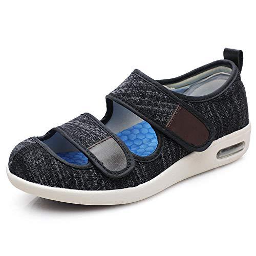 B/H Calzado para Personas DiabéTicas,Zapatos veraniegos Ajustables con Velcro, Zapatos Thumb valgus-42_Dark Grey