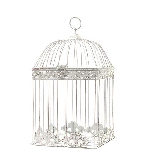 chemin_de_campagne Cage à Oiseaux Blanc en Fer de Décoration Carré 43 cm x 23 cm x 23 cm